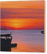 Sunset @ Galveston Bay Wood Print
