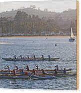 Sunset Activity At The Harbor Wood Print