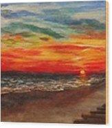 Sunset After Sandy Wood Print