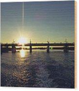 Sunset And Bridge Wood Print