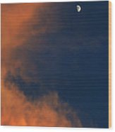 Sunset And Crescent Moon Cloud Series 20 Wood Print