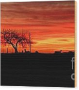 Sunset And Deer Silhouette Wood Print