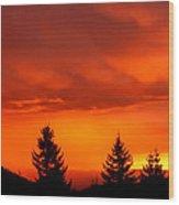 Sunset And Fir Trees Wood Print