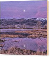 Sunset And Moonrise At Farmers Pond Wood Print by Cat Connor