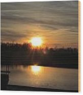Sunset And Pond Reflection Wood Print