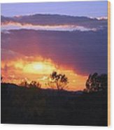 Sunset And Rain Wood Print