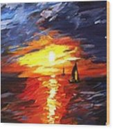 Sunset And Sails Wood Print