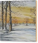 Sunset And Snow Sold Wood Print