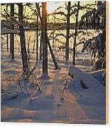 Sunset And Snow Wood Print