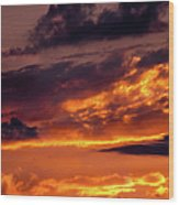 Sunset And Storm Clouds Wood Print