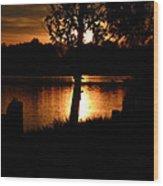 Sunset And Tree Wood Print