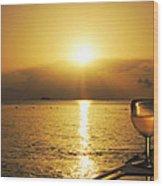 Sunset And Wine Wood Print