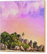 Sunset At Anse Source Argent Seychelles Wood Print
