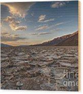 Sunset At Badwater Basin Wood Print