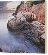 Sunset At Bass Harbor Lighthouse Wood Print