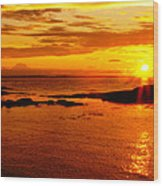 Sunset At Bic Wood Print