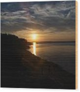 Sunset At Cabot Beach Wood Print