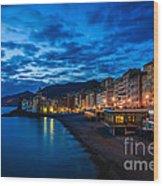 Sunset At Camogli In Liguria - Italy Wood Print