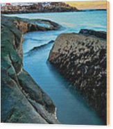 Sunset At Cape Neddick Light- Maine Wood Print by Thomas Schoeller