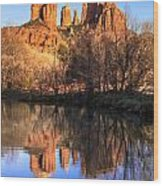Sunset At Cathedral Rock In Sedona Az Wood Print by Teri Virbickis