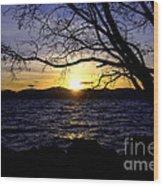 Sunset At Cave Rock Wood Print