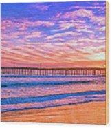 Sunset At Cayucos Pier Wood Print