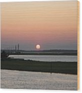 Sunset At Chincoteague Channel Wood Print