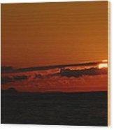 Sunset At Clallam Bay Wood Print