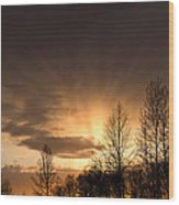 Sunset At Columbia River Gorge Oregon Wood Print