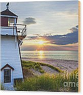 Sunset At Covehead Harbour Lighthouse Wood Print by Elena Elisseeva