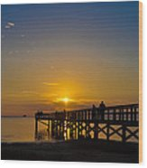 Sunset At Crystal Beach Pier Wood Print