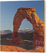 Sunset At Delicate Arch Wood Print