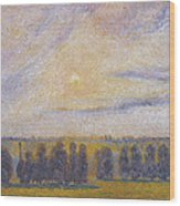 Sunset At Eragny, 1890 Wood Print