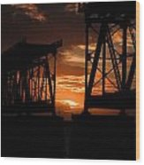 Sunset At Flagler Bridge 2 Wood Print