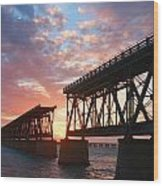 Sunset At Flagler Bridge Wood Print