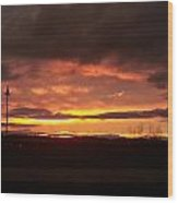Sunset At Fore River Wood Print