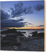 Sunset At Fort Getty Wood Print
