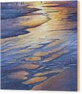 Sunset At Galveston Beach Wood Print