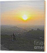Sunset At Glastonbury Tor Wood Print