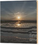 Sunset At Great Fountain Geyser - Yellowstone Wood Print