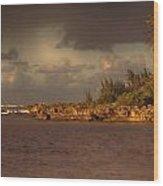 Sunset At Haleiwa Beach Oahu Hawaii V3 Wood Print