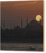 Sunset At Historical Peninsula In Istanbul Wood Print