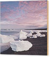 Sunset At Ice Beach Wood Print