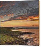 Sunset At Kent Narrows Wood Print
