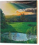 Sunset At L Hermitiere Wood Print