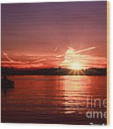 Sunset At Lake Of The Woods Wood Print