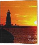 Sunset At Ludington Wood Print