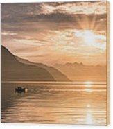 Sunset At Lyngenfjord Wood Print