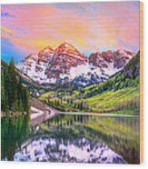 Sunset At Maroon Bells And Maroon Lake Aspen Co Wood Print by James O Thompson