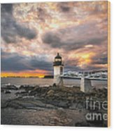 Sunset At Marshall Point Wood Print